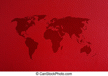 World map on red leather background