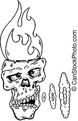 Skull with a flaming head