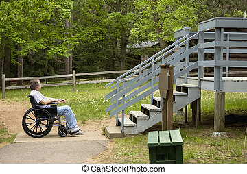 Handicap inaccessible - Man in a wheelchair faces...