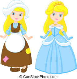Cinderella before and after transformation