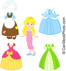 Cinderella dresses - Paper doll with clothes for princesses
