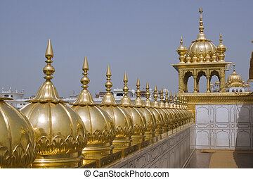 Golden Temple. Holiest shrine of the Sikh religion. Row of...