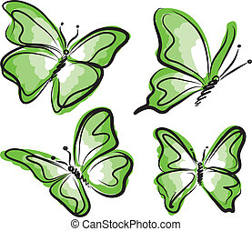 green butterfly illustration