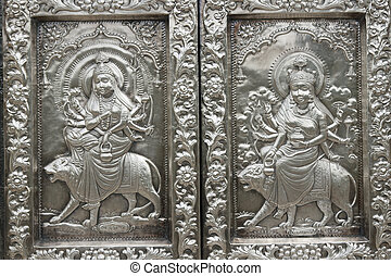 Hindu Silver Panels - Durgiana Hindu Temple Detail of ornate...