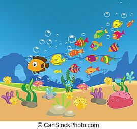 grande, familia, pez, mar