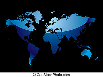 world map reflect blue black