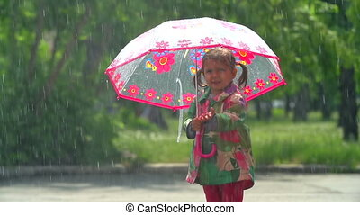 It Will Rain - Girl under umbrella putting her hand out to...