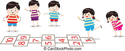 kids playing hopscotch in a play