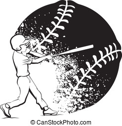 Baseball Boy Batting with Grunge Ball - Black and white...