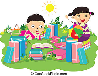 kids studying book