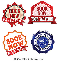 Book now label, sticker or stamps - Promotional label,...