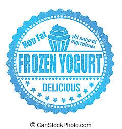 Frozen yogurt stamp - Frozen yogurt grunge rubber stamp on...