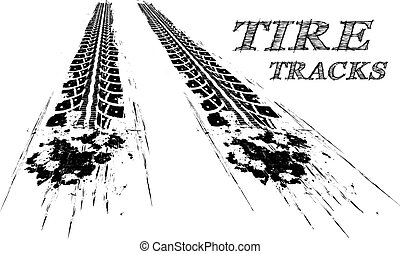 Tire tracks Vector illustration on white background