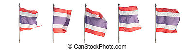 Flag of Thailand isolated on white.