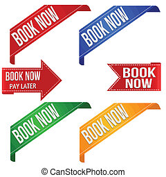 Book now promo ribbons - Collection of various book now...