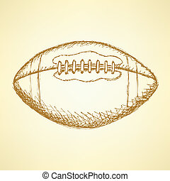Sketch american football balll, vector background - Sketch...