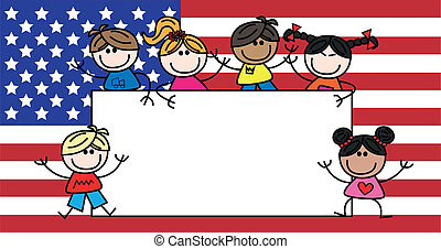 american flag mixed ethnic children - mixed ethnic children...