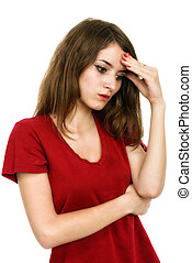 Thinking  woman with question mark over head isolated on white b