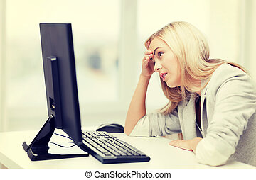 stressed woman with computer - picture of stressed...