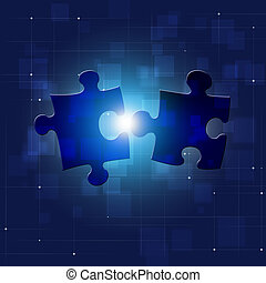 Puzzle Connection Blue Business Background - abstract puzzle...