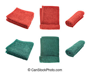 Red and green terry towels isolated over the white...
