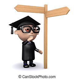 3d Graduate looks at the road sign - 3d render of a graduate...