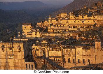 Bundi Palace at Sunrise - Magnificent ornate palace with...