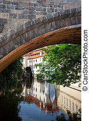 Watermill, Prague, Charles Bridge - Beautiful view of a...