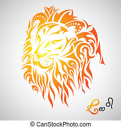 Leo Zodiac Sign - vector illustration of Leo Zodiac Sign