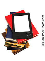 e-book and old books on a white background