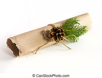 Christmas letter as a roll with decorations on white...