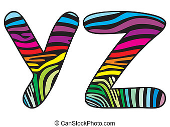 Background skin zebra letter Y,Z