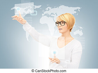 businesswoman working with touch screen - picture of...