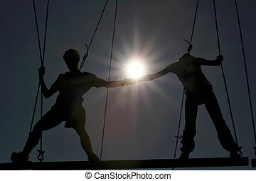 Rope course - young couple