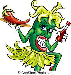 The pepper waitress - Humorous illustration of green pepper...