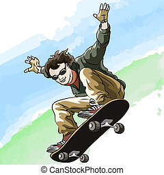 Skateboarding - Funny illustration of jumping skateboarder...