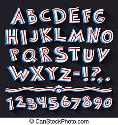 Cartoon Retro 3D Font with Strips on Black Background....