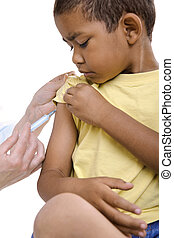 injection - A doctor giving a child an injection