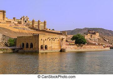 Amer fort - Famous Rajasthan landmark - Amer Amber fort,...