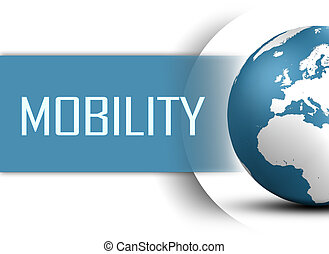 Mobility concept with globe on white background
