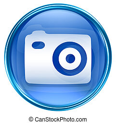Camera icon blue, isolated on white background