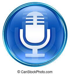 microfone, azul, isolado, fundo, branca, ícone