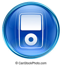 mp3 player blue, isolated on white b