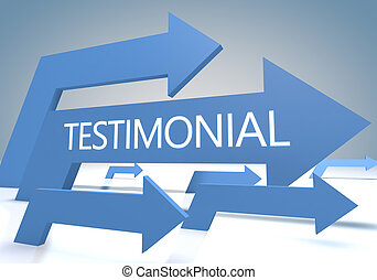 Testimonial 3d render concept with blue arrows on a bluegrey...