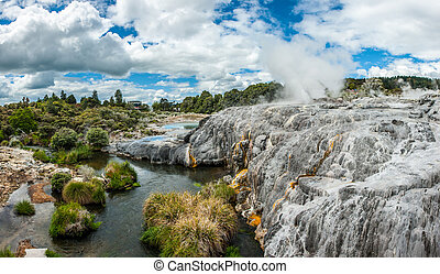 Pohutu and Prince of Wales geysers - White travertine...