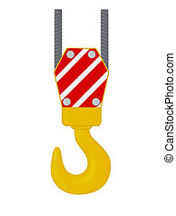 Crane hook. - Crane hook isolated on white background,...