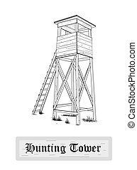 Hunting tower.  - Hunting tower - vector illustration.