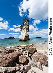 Coromandel - Beautiful Te Hoho Rock at Cathedral Cove Marine...