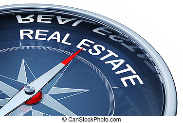 real estate - 3d rendering of a compass with a real estate...