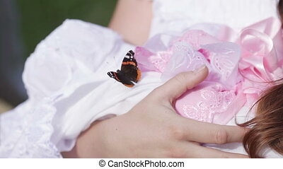 Butterfly on child - Sitting on child butterfly flies